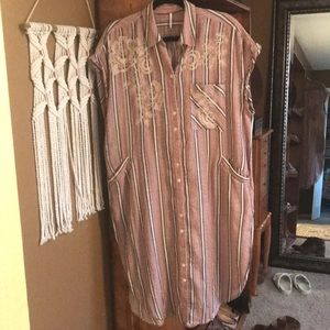 Free people long button down tunic/dress
